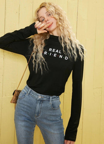 REAL FRIEND LONG SLEEVE TEE-Cosmique Studio