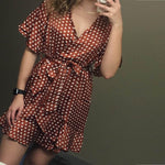 RED POLKA RUFFLES BOHO DRESS-Cosmique Studio