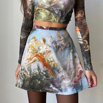 RETRO ANGEL PAINTING TEE AND SKIRT - TWO PIECE SET - Cosmique Studio