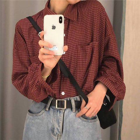 RETRO BF STYLE PLAID SHIRT-Cosmique Studio-aesthetic-clothing-store