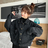 RETRO CHIC BLACK DENIM JACKET-Cosmique Studio-aesthetic-clothing-store