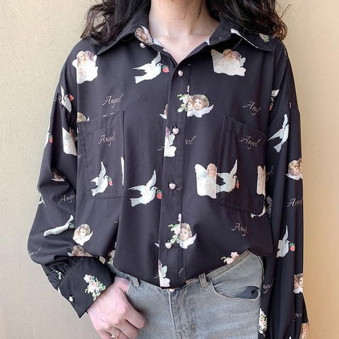 RETRO CUPID ANGEL PRINT SHIRT-Cosmique Studio-Aesthetic-Egirl-Grunge-Clothing