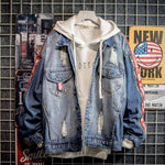 RETRO DENIM HOODED JACKET-Cosmique Studio