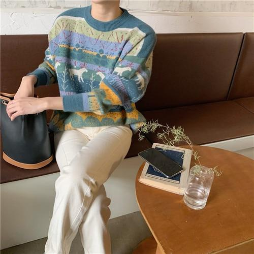 RETRO NATURE O NECK SWEATER - Cosmique Studio - Aesthetic Outfits