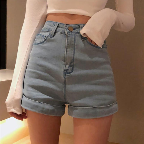 RETRO STYLE CHIC HIGH WAIST DENIM SHORTS - Cosmique Studio