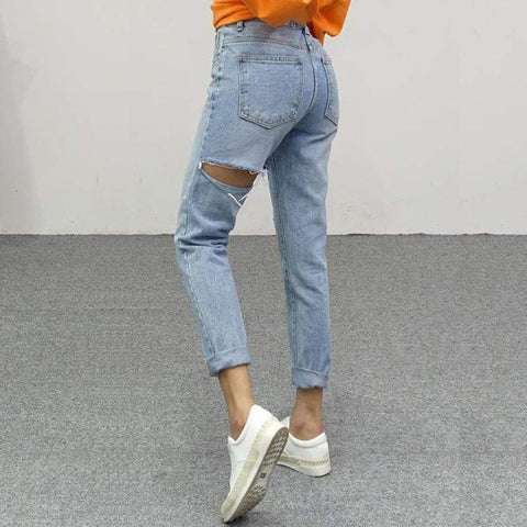 RIPPED DENIM HIGH WAIST JEANS-Cosmique Studio