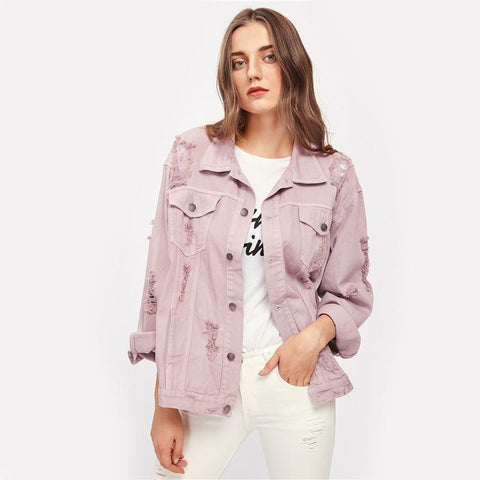RIPS DETAIL PINK DENIM JACKET-Cosmique Studio-Aesthetic Clothing Store