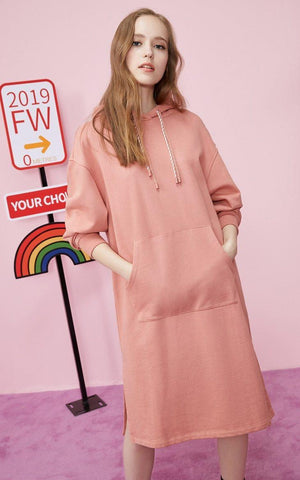 ROSE CASUAL HOODED MIDI DRESS-aesthetic-clothing-cosmiquestudio.com