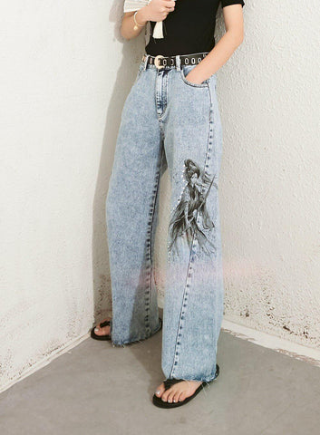 SAMURAI WOMAN WIDE LEG DENIM PANTS-Cosmique Studio-aesthetic-clothing-store