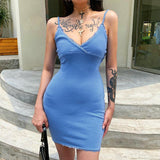 SEXY AESTHETIC BLUE V NECK MINI DRESS-Cosmique Studio-Aesthetic Clothing Store