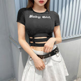 SEXY BABY GIRL HOLLOW OUT CROP TOP-Cosmique Studio-Aesthetic-Egirl-Grunge-Clothing