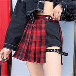 SEXY EGIRL EDGY STYLE PLEATED MINI BUCKLE SHORTS SKIRT-Cosmique Studio-Aesthetic-Egirl-Grunge-Clothing
