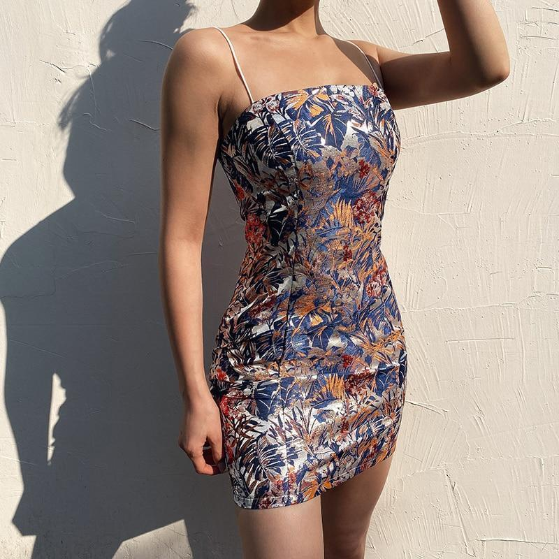 SEXY FLORAL EMBROIDERY MINI DRESS-Cosmique Studio-Aesthetic Clothing Store