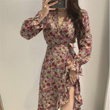 SEXY FLORAL RUFFLES SUMMER MIDI DRESS-Cosmique Studio-Aesthetic-Egirl-Grunge-Clothing