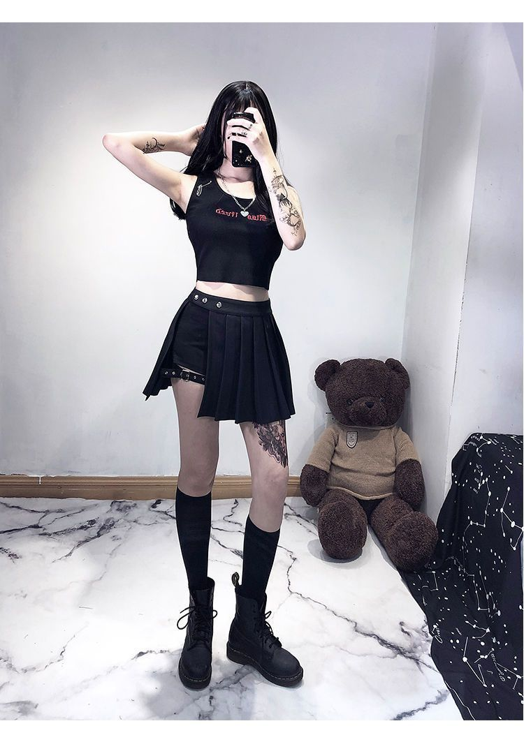 SEXY GOTHIC HIGH WAIST PLEATED MINI SKIRT WITH SHORT-Cosmique Studio