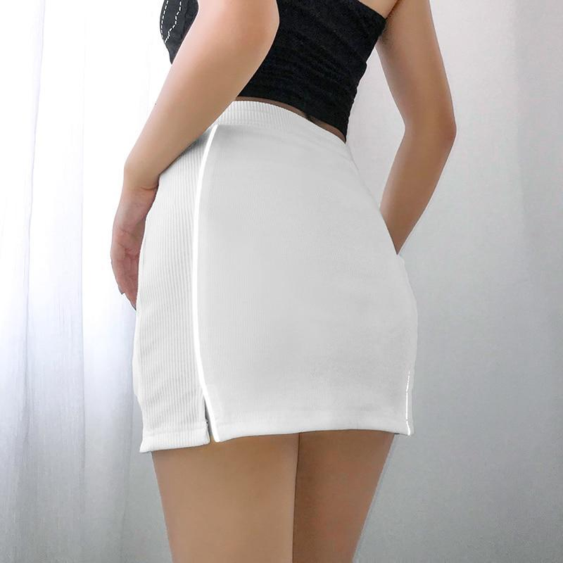 SEXY HIGH WAIST REFLECTIVE STRIP MINI SKIRT-Cosmique Studio-Aesthetic-Egirl-Grunge-Clothing