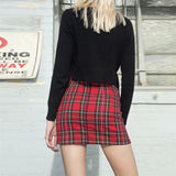 SEXY RED PLAID ZIPPER MINI SKIRT-Cosmique Studio