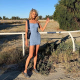 SEXY SUMMER BLUE PLEATED MINI DRESS-Cosmique Studio-Aesthetic Clothing Store