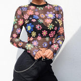 SEXY TRANSPARENT FLOWERS BODYCON CROP TEE - Cosmique Studio