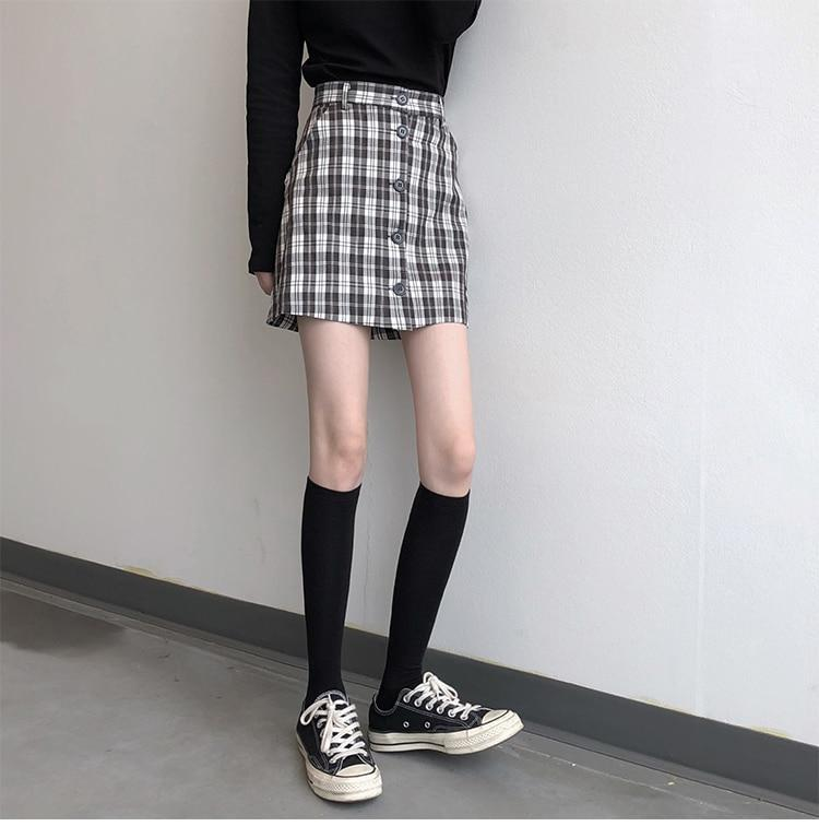 SIMPLE PLAID BASIC A-LINE COLLEGE GIRL MINI SKIRT-Cosmique Studio