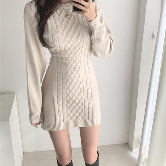 SOFT AESTHETIC KNITTED MINI DRESS - Cosmique Studio
