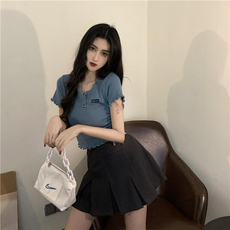 SOFT GIRL BLUE CROP TEE-Cosmique Studio-Aesthetic Clothing Store