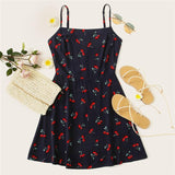 SOFT GIRL CHERRY PRINT NATURAL WAIST MINI DRESS-Cosmique Studio-Aesthetic Clothing Store