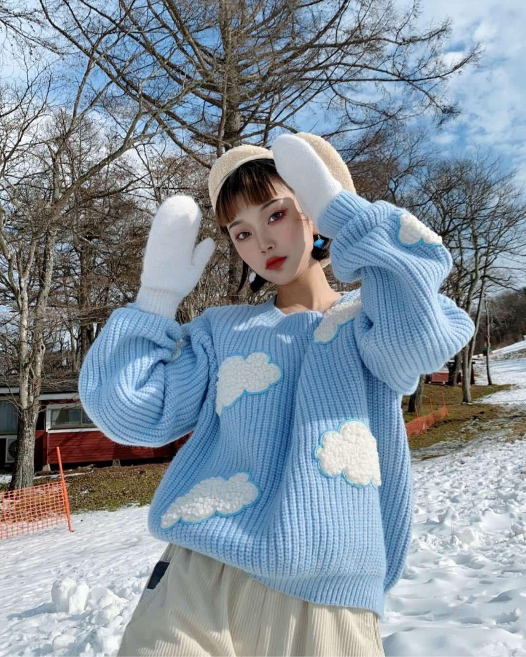 SOFT GIRL CLOUDS KNITTED SWEATER - Cosmique Studio - Aesthetic Outfits