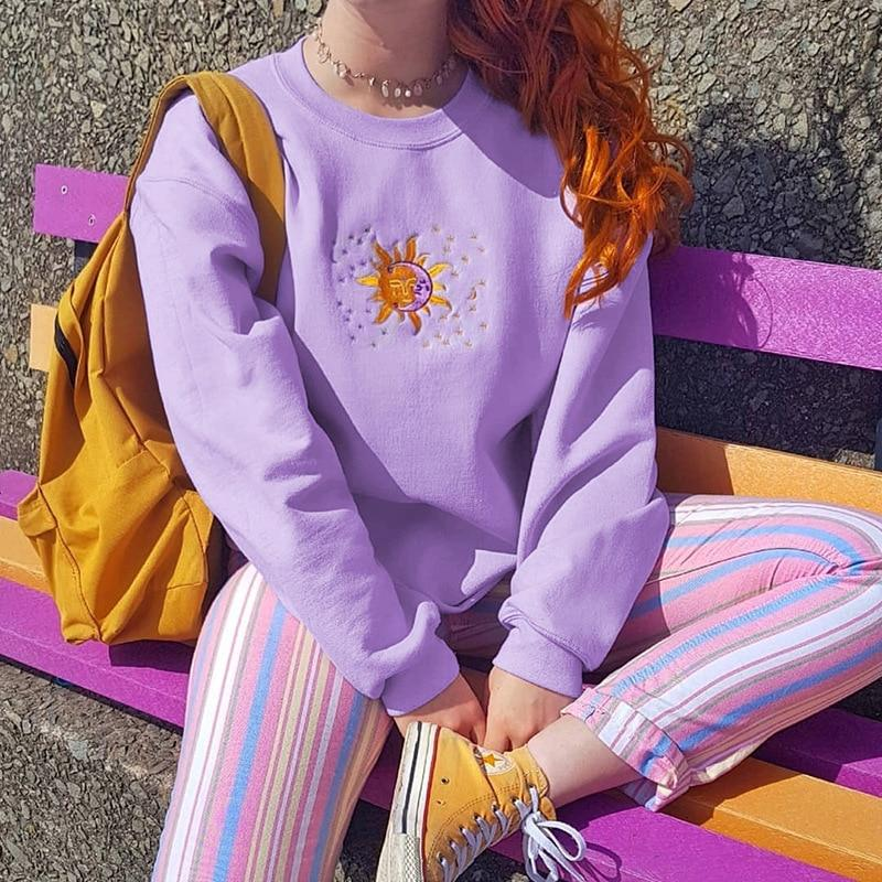 SOFT GIRL SUN MOON SWEATSHIRT - Cosmique Studio - Aesthetic Outfits