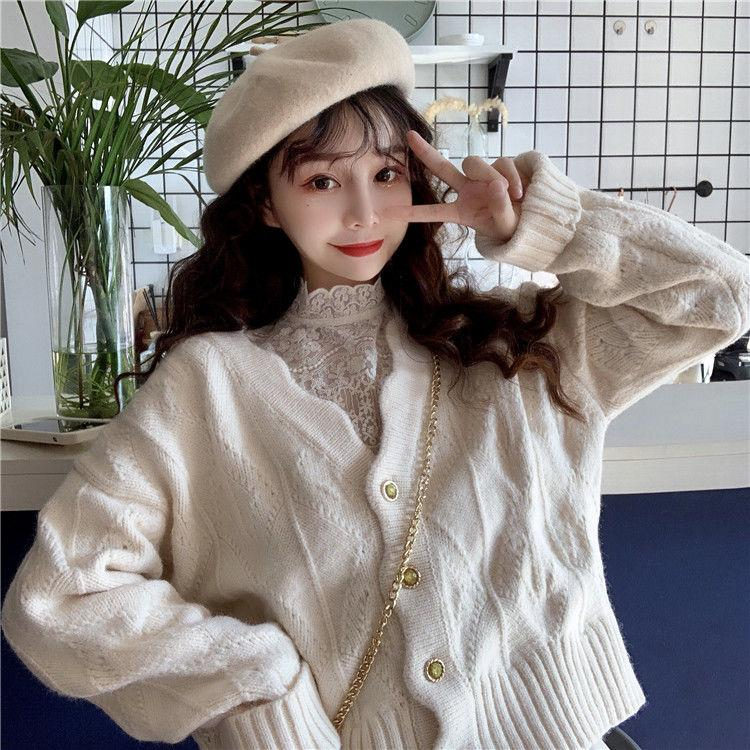 SOFT GIRL WHITE CARDIGAN SWEATER - Cosmique Studio - Aesthetic Clothes