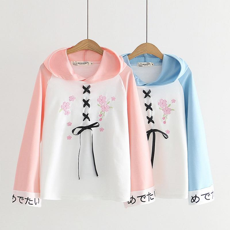 SOFT KAWAII GIRL LACE UP HOODIE - Cosmique Studio - Aesthetic Outfits