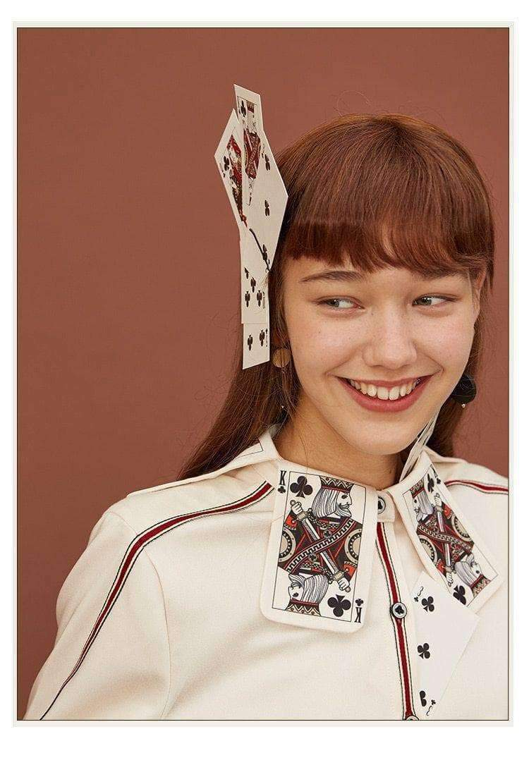 SPECIAL KING CARD PRINT COLLAR SHIRT-Cosmique Studio