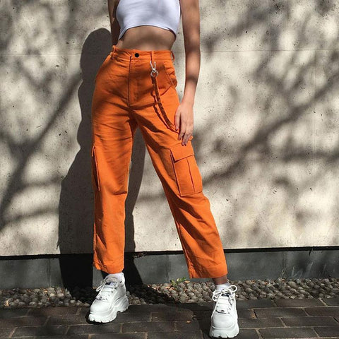 STREETWEAR STYLE ORANGE HIGH WAIST CARGO PANTS-Cosmique Studio
