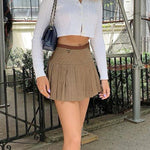 STYLISH BROWN SEXY MINI SKIRT-aesthetic-clothing-cosmiquestudio.com