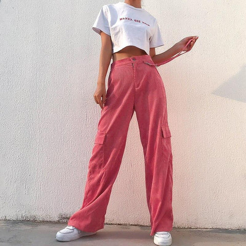 STYLISH CORDUROY PINK BAGGY HIGH WAIST PANTS-Cosmique Studio