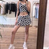 SUMMER DAISY PRINTED 2 PIECES SET CROP TOP AND MINI SKIRT - Cosmique Studio