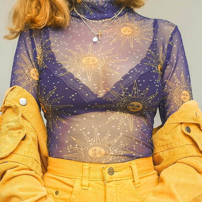 SUN MESH CROP TOP-Cosmique Studio - Aesthetic Clothing