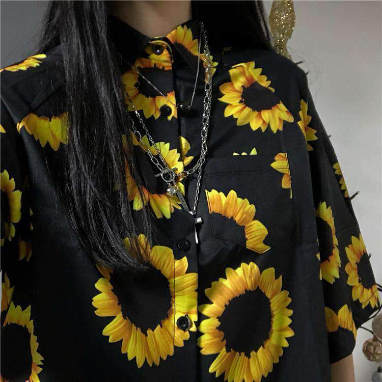 SUNFLOWER VINTAGE BOHO BLOUSE-Cosmique Studio