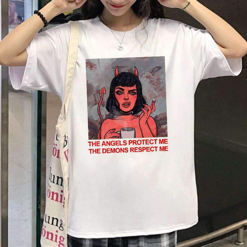 THE ANGELS PROTECT ME THE DEMONS RESPECT ME TEE-Cosmique Studio