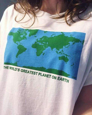 THE WORLD'S GREATEST PLANET ON EARTH WORLD MAP TEE-Cosmique Studio