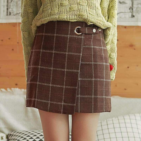 ULZZANG PLAID WOOLEN SKIRT-Cosmique Studio