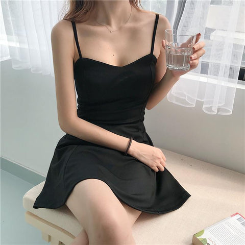 ULZZANG SOFT GIRL A-LINE BLACK MINI DRESS-Cosmique Studio-Aesthetic-Egirl-Grunge-Clothing