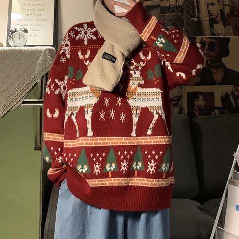 UNISEX REINDEER CHRISTMAS SWEATER-Cosmique Studio-Aesthetic-Outfits