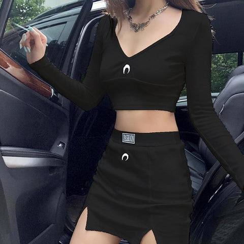 V-NECK BODYCON 2 PIECE SETS MINI SKIRT AND TOP - Cosmique Studio