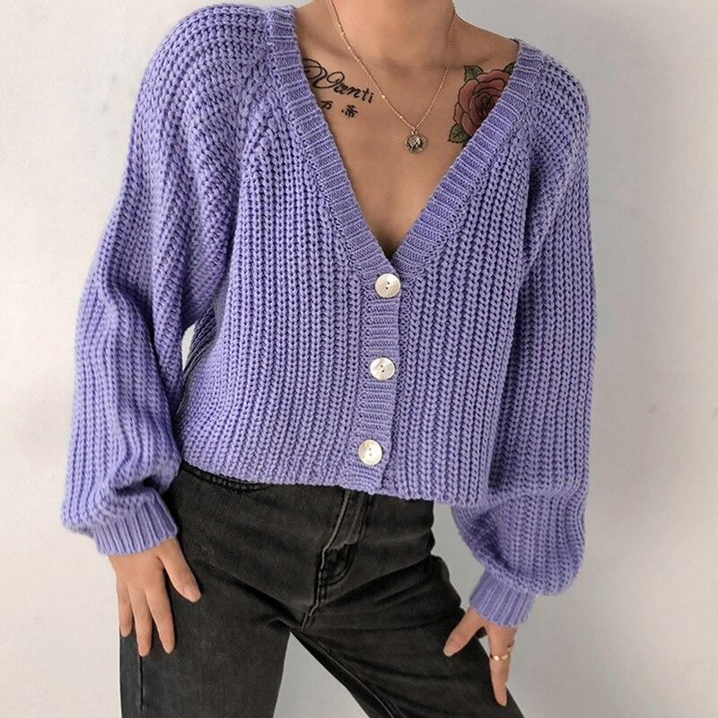 V NECK CROPPED KNITTED CARDIGAN-Cosmique Studio-aesthetic-clothing-store