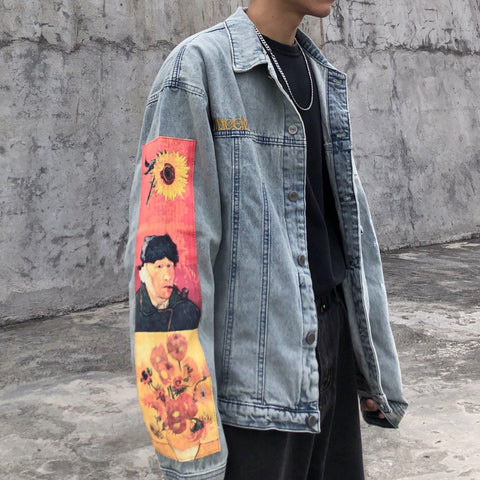 VAN GOGH PRINT VINTAGE DENIM JACKET - Cosmique Studio