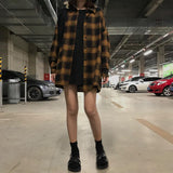 VINTAGE AESTHETIC CHIC PLAID LOOSE SHIRT-Cosmique Studio-Aesthetic Clothing Store