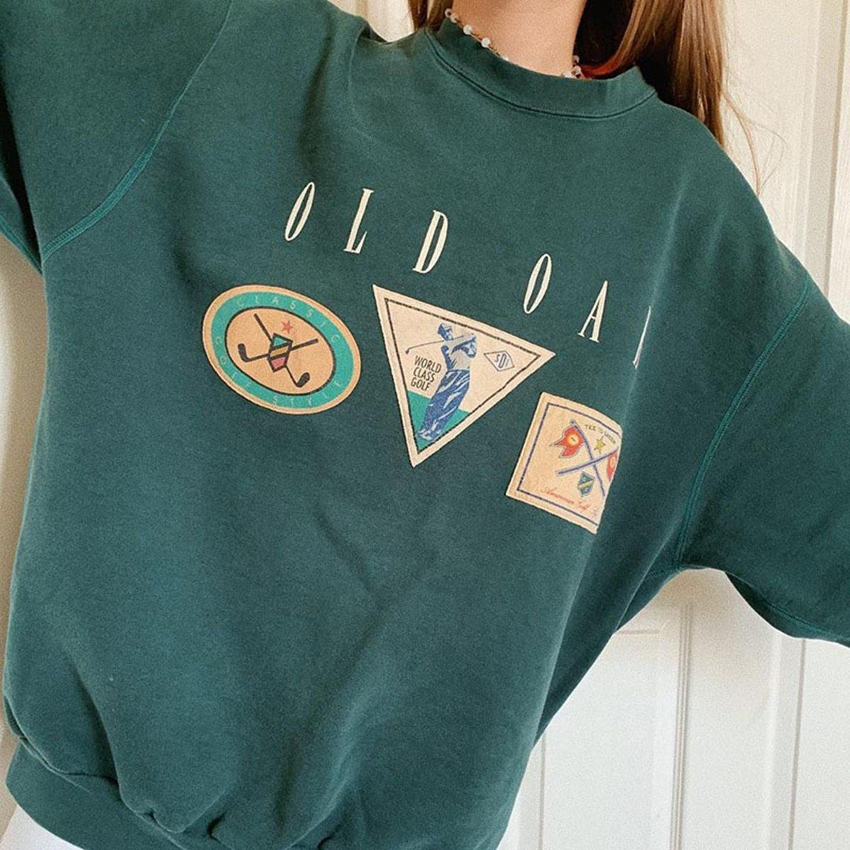 VINTAGE AUTUMN GREEN SWEATSHIRT-Cosmique Studio-aesthetic-clothing-store