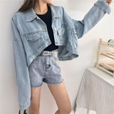 VINTAGE BLUE LONG SLEEVE CROPPED DENIM JACKET - Cosmique Studio