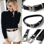 VINTAGE BOHO METAL LEATHER DOUBLE BUCKLE WAIST BELT-Cosmique Studio